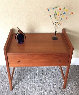1950s Danish Modern TEAK Entry Chest End Table Mid Century Vintage Eames Era