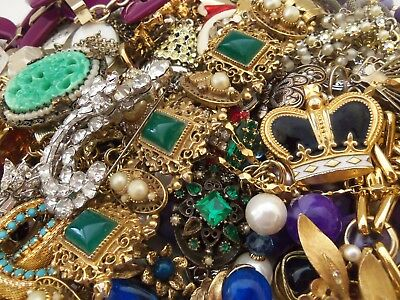 Modern Vintage Lot of 50 Earrings Necklaces Brooches Bracelets Craft Repurpose