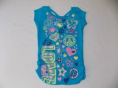 One Step Up Brand Girls Shirt Size 7/8 Multi Colors Peace Sign Hearts Stars