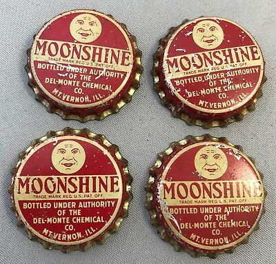 4 Vintage MOONSHINE Del Monte Chemical SODA Cork CROWN Bottle Cap Mt VERNON IL
