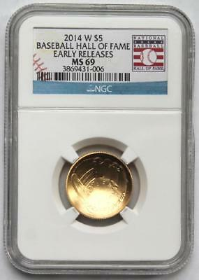 2014-W Baseball Hall of Fame $5 Gold Commemorative Coin NGC MS69 Early Releases