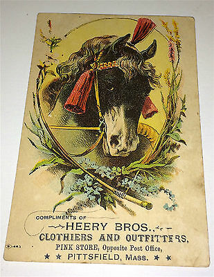 Antique Victorian Fantastic Horse Advertising Trade Card, Heery Bros. Outfitters