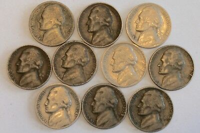 Lot of (10) Ten Jefferson Nickels Dates 1941 to 1964 (35% Silver 1942 S)