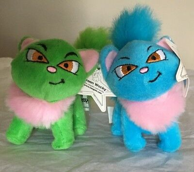 "Lot Of 2~NEOPETS~Blue and Green Wocky Plush Kitty~4""~Tags Attached"