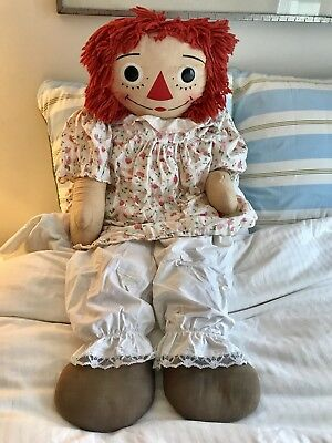"""Vintage RAGGEDY ANN LARGE 35"""" TALL DOLL, made by Knickerbocker 1969-1970 RARE!"""
