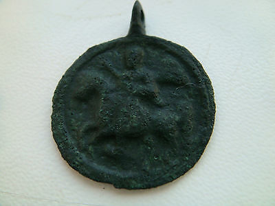 Ancient bronze pendant Saint George Warrior Defeating the Dragon