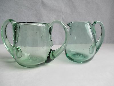 Vintage Green Glass Sugar & Creamer No chips Bubbles Due to Hand Blown No Box
