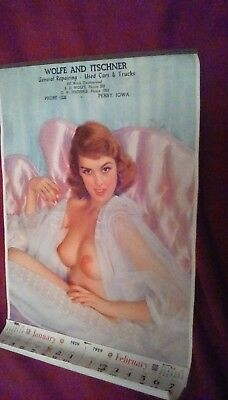 Vintage 1959 Auto Shop Pinup Calendar - Topless Girl
