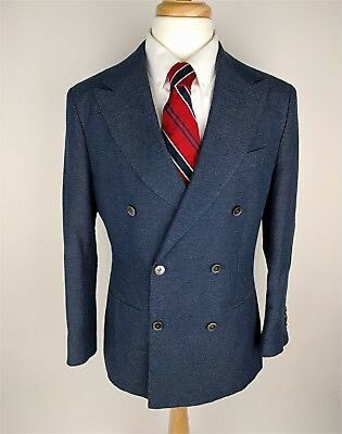 Suit Supply Double Breasted Light Blue Linen & Cotton Mens Sports Coat 38 CLEAN