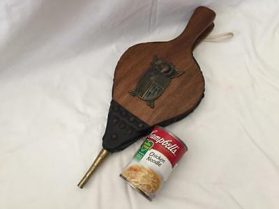 Vintage Wood Leather & Brass Fireplace Bellows Knight & Shield Coat of Arms