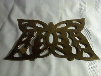 """Vintage Brass Butterfly Trivet Made of Cast Metal About 10"""" x 6"""""""
