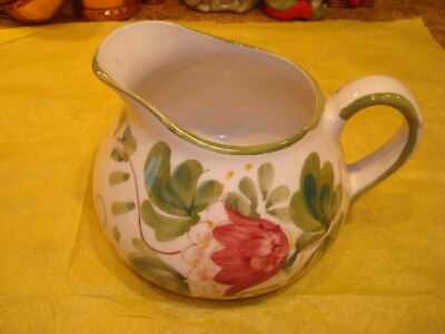 Vintage Hand Painted in Portugal Pticher White Rose Green Flowers EVC