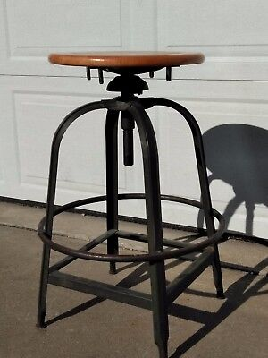 Vintage Toledo (?) Industrial Adjustable Stool / Drafting Chair, Swivel