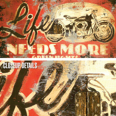 """20W/""""x40H/"""" LIFE NEEDS MORE GREEN LIGHTS by RODNEY WHITE BIKE CHOICES of CANVAS"""