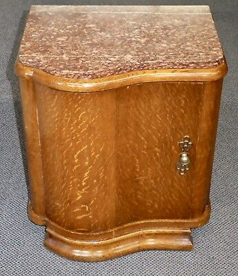 Antique Art Deco Marble-Topped Wooden Night Stand. Drawer, Shelves. 1900