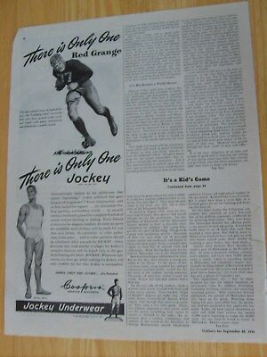 1945 Ad Jockey Underwear Red Grange Football Galloping Ghost Colliers