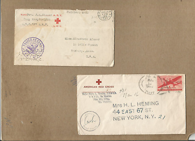 """Us Forces-Red Sross-Ww1&2,pair Of Covers From """"a.e.f."""" With Letter&red Cross,ww2"""