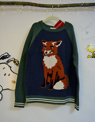 Sizes 9 10 11 Boys Fox Family Sweater Hanna Andersson NWT NEW Cotton & Merino