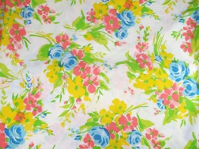 Vintage 60s Floral Bed Sheets, Sheet Set, Full-Double, Flat, Fitted, Pillowcases