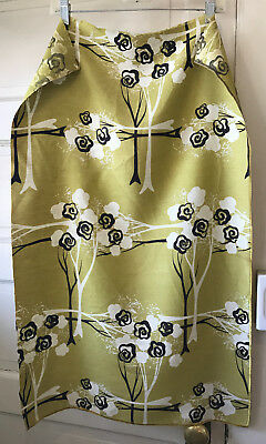 Vintage Mid Century Fabri Sample Lime Green White Dark Brown Graphic 21 x 32.5
