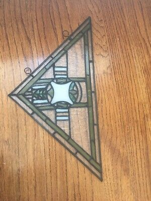 Vintage Stained Glass Triangle Shape Green White Decorative Hanging Window Art