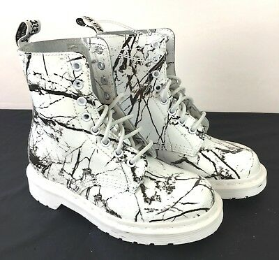 New Dr. Martens Air Wair Pascal Black White Marble Patent Leather US Size 5
