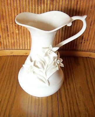 "Pitcher with Raised Flowers / Antique Reflection by Godinger / 7 1/2"" Tall"