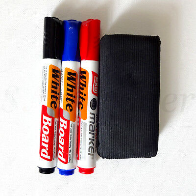 White Board Dry Wipe Marker Bullet Tip 3 Colours Whiteboard Markers Set & Eraser
