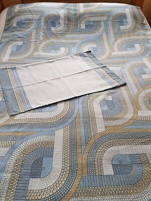 Vintage retro blue olive green single duvet cover & pc vw camping prop 60s 70s