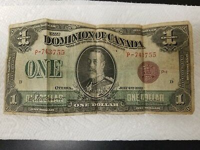 1923 Dominion Of Canada One Dollar Note Red Seal!