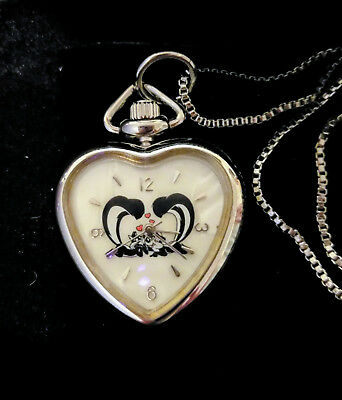 Fossil for Warner Bros Pepe Le Pew & Pene Collectable Heart Watch Necklace 1997