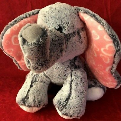 """Absolute Softest Plush Gray Elephant! Pink ears Hearts AURORA 12"""" Baby Soft Toy"""