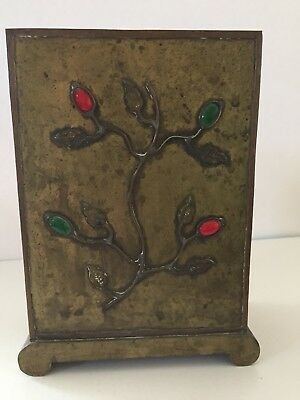 Antique Asian Brass Box With Cabochons marked China