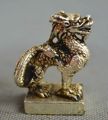 Collectable Handwork Decorative Old Miao Silver Carve Myth Dragon Lucky Statue