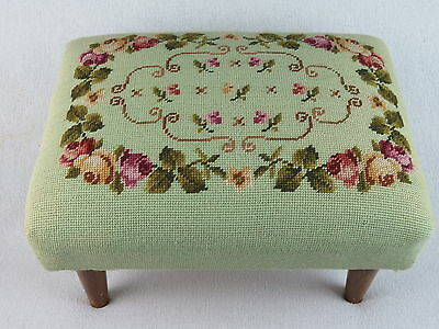Vintage Mint Green Floral Needlepoint Footstool Ottoman in Nice Used Condition