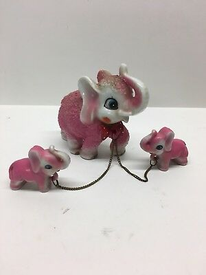 Rare Kitch Chained Pink Elephant Mom Babies Flocked Japan