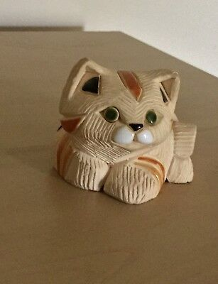 Handcrafted Cat Collectible Sand With Orange/Black Accent Stripes Signed