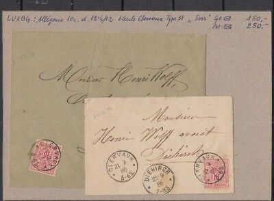 Jan977 LUXEMBOURG Diekirch 1886 Allegorie 10c CANCELLED on Cover with 1 circle