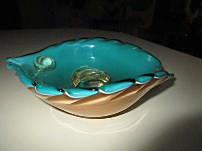 Vintage Mid Century Murano  Label Art Glass Sommerso Turquoise Gold Fish Bowl