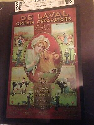 new metal sign w/ girl and cow pictured  de laval cream separators