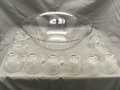 Antique New Martinsville Radiance Punch Bowl Set Clear Glass w/ 10 Cups {DD357}