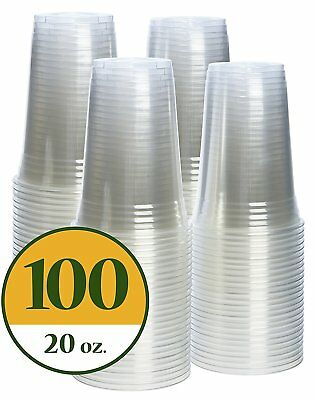 Plastic Cups CRYSTAL CLEAR PET [100 pack] 20 oz