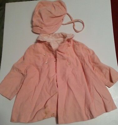 Child's Coat and Hat, Pink Corduroy, Size 1-2 years