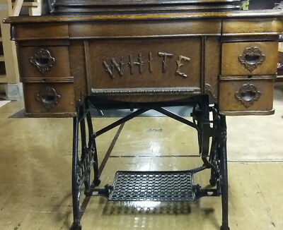 Antique WHITE TREADLE SEWING MACHINE w/6-Drawer Cabinet  Family-owned Since New!