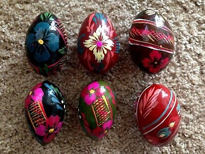 Polish Wooden Easter Eggs -  Six Hand Painted (set #3)