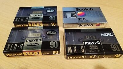 Set of 2 New Maxell XLII-S 90 Cassette Tapes  + Maxell MX-S 90  & 1 Scotch XS II