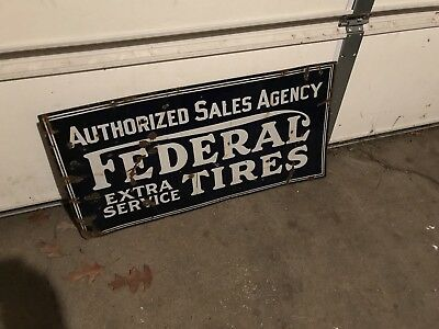 Antique Vintage Federal Tires Porcelain 2 Sided Automotive Advertising Sign