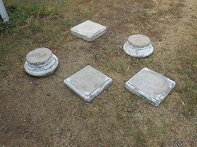 Lot Of 5 Large Antique Cement Column Bases Round & Square