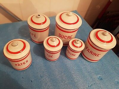 Antique Vintage French Enamel 6 Piece Canister Set  White red  stripe