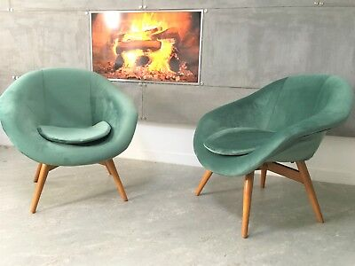 Vintage Art Deco Bucket Velvet Chairs by Miroslav Navratil 1950s set of 2